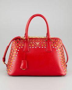 プラダ Saffiano Crystal-Studded Promenade Bag