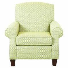 "Showcasing cheerful trellis-print upholstery and a classic silhouette, this chic arm chair pairs classic style with a pop of contemporary color. Set it in a corner to create a cozy reading nook or let it add a pop of pattern to your master suite ensemble.    Product: ChairConstruction Material: Wood, cotton and polyester Color: Lime and whiteFeatures:  Round tight backWelt detailingTrellis print Dimensions: 38"" H x 36"" W x 34"" D"