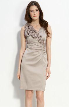 @Christie LeBouef  Donna Ricco Ruffle Trim Charmeuse Sheath Dress | Nordstrom