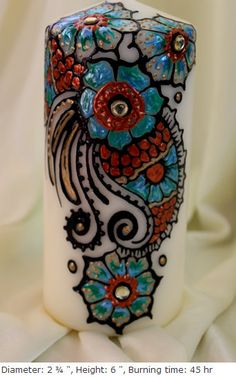 Holiday Special Handpainted decorative henna candles with -Teal blue/Black/copper with rhinestones artwork
