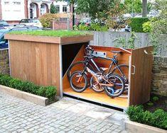 bike-storage-fi Garden Tool Storage, Shed Storage, Garden Tools, Storage Place, Outdoor Bike Storage, Outside Storage, Bicycle Storage, Bike Storage Options, Storage Ideas