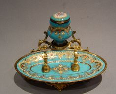Antique Inkwells | French antique jewelled enamel and gilt metal inkwell and penstand ...