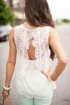 lace open back top  #swoonboutique