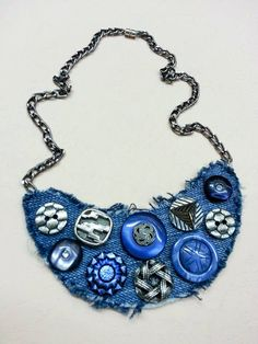 Button necklace Denim necklace Textile necklace by NasttiaDesigns