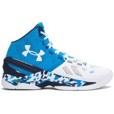 Under Armour Men's UA Curry Two Basketball Shoes ($130) ❤ liked on Polyvore featuring men's fashion, men's shoes and electric blue