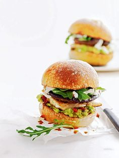 A vegetarian burger recipe made with salty cheese, earthy mushroom, creamy avocado and a hint of chilli.