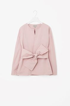 COS image 2 of Blazer with tie front in Dusty Pink