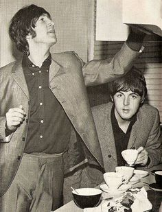 John Lennon and Paul McCartney (The Beatles make tea!)