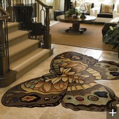 brown butterfly area rug
