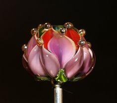 Water Lily Handmade Lampwork Glass Art Bead Red+Pink OOAK, Cornelia Lentze SRA, on Etsy<3<3<3EXQUISITE<3<3<3 water lily bead handmade glass bead SRA OOAK von CorneliaLentze