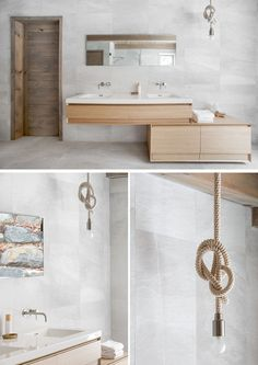 This ensuite bathroom vanity, made from light wood, includes dual sinks, ample storage, and a knotted pendant light to tie together the rustic feel of the space.