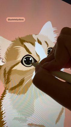 Cute kitty procreate illustration