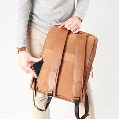 New Tan color for our beloved Saola Tech Backpack. Keep your style unique with Capra Leather.   ⁣#travelgear #travel #travellikeapro #travelling #backpack #workbag#travelbag #leather #mensgift #menstyle ⁠ #handmade #leathergoods #leathercraft #handcraft #everydaycarry #menstyle #menfashion #schoolbag #highsnobiety #hypebeast #design #minimalism #productdesign #techbag #commuting Rucksack Backpack, Laptop Backpack, Luggage Straps, Modern Man, Tan Leather, Your Style, Leather Backpacks, Mens Fashion, Stylish