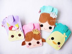 Felt iphone Case in prince/princess/pudding or duck with long strap.