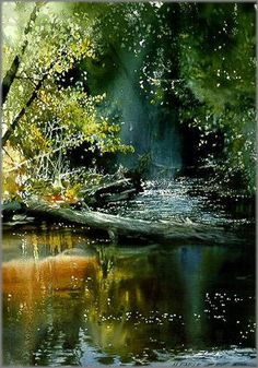 Morning on the Yellow Dog River | watercolor by Nita Engle