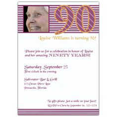 90th Birthday Pink Stripes Photo Invitations