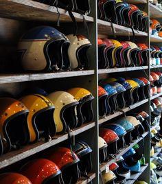 Vintage Helmets on wall