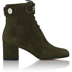 Gianvito Rossi Women's Cassell Boots (€1.060) ❤ liked on Polyvore featuring shoes, boots, ankle booties, ankle boots, dark green, lace up boots, lace-up ankle boots, round booties, round toe booties and round cap