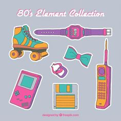 80s element collection Free Vector Cute Kawaii Drawings, Kawaii Art, Kawaii Illustration, Pencil Illustration, 2 Point Perspective Drawing, Tumblr Transparents, Image Stickers, 80s Aesthetic, Unicorn Stickers