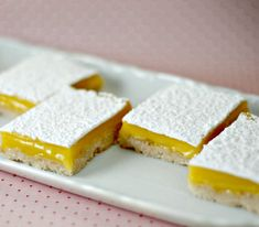 Luscious Lemon Bars are an great dessert that many people love. Gluten Free Lemon Bar Recipe, Dairy Free Recipes, Gluten Free Cooking, Cooking Recipes, Kitchen Recipes, Fructose Free, Vegetarian Desserts, Delicious Desserts, Sans Lactose