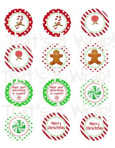 Sweet Christmas Holiday Party Circles DIY Printable von thatsawrap2, $10,00 Christmas Time Is Here, All Things Christmas, Winter Christmas, Merry Christmas, Christmas Cupcake Toppers, Christmas Cupcakes, Christmas Treats, Printable Templates, Printable Labels