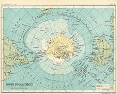 Antarctica maps are so beautiful. Ok, I admit it, all maps are beautiful. Vintage Maps, Antique Maps, Map Globe, Old Maps, City Maps, Arctic, Scrapbook Paper, History, Illustration