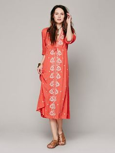 New-Free-People-Embroidered-Fable-Dress-Coral-FP-Classic