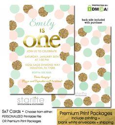blush pink mint gold glitter polka dots 1st birthday invitation, girl