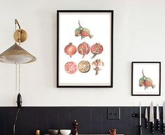 pomegranates art print of original watercolor painting,home decor , kitchen art, wall art, A3 large print