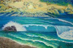 "Saatchi Art Artist Mihaela Onioi; Painting, ""seaside sunrise"" #art"
