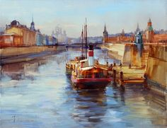 Moscow River. The old pier (2012 painting.)