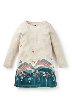 Tea Collection 'Andes' Graphic Long Sleeve Dress (Toddler Girls, Little Girls & Big Girls)