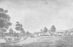 Adelaide in 1837; Artist's impression of the tents and small houses that was the new settlement of Adelaide in 1837