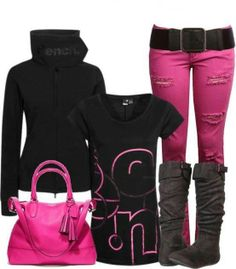 Fall pink and black Outfit of the day Put it together look Diva Fashion, Look Fashion, Womens Fashion, Mode Outfits, Casual Outfits, Fashion Outfits, Fall Winter Outfits, Autumn Winter Fashion, Winter Dresses