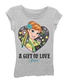 Love this Heather Gray 'A Gift of Love' Anna Cap-Sleeve Tee - Girls on #zulily! #zulilyfinds