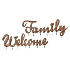 Welcome and Family Wall Hooks - Set of 2 - Benzara