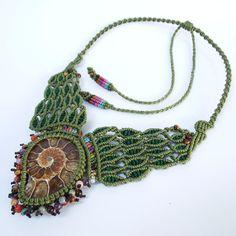 Macrame Necklace Pendant Ammonite Fossil Stone Waxed Cord Handmade Handcrafted #Handmade #Pendant