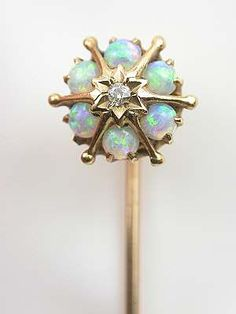 Antique Opal, Diamond And 14k Yellow Gold Stick Pin  c,1930's
