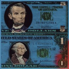 Here is another fun #colorful twist on #money. This is a #Pick of a #FiveDollarBill and a #OneDollarBill.