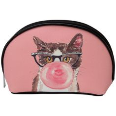 Full of gum and furry attitude, this cool cat adorns this colorful cosmetic bag. Made from vinyl, this bag features several interior pockets for all of your makeup and other personal items. This cosmetic bag is a meowst have for travel.