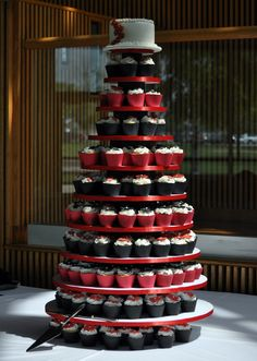 Black and Red Wedding Cupcake Tower