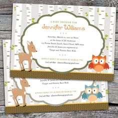 woodland baby shower theme | Woodland - Baby Shower, Bridal Shower, or Birthday Invitations. Option ...