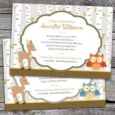woodland baby shower theme | Woodland - Baby Shower, Bridal Shower, or Birthday Invitations. Option ...