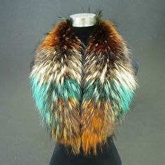 women Scarves & Wraps winter fur scarves Colorful real raccoon fur collars for coat red ,pink green,purple ,yellow