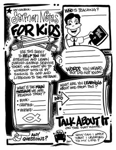 SERMON NOTES FOR KIDS - Here is version 2 that I created about a year ago. Feel free and copy and print out for your kids or children's ministry. Sunday School Kids, Kids Class, Sunday School Lessons, Sunday School Crafts, Church Activities, Bible Activities, Church Ministry, Ministry Ideas, Kids Ministry