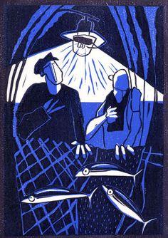 Colin Moore Colour Linocut 'Night Fishing'