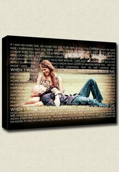 Photos on canvas words wedding Vows.  I want to do this for my next wedding photos!!
