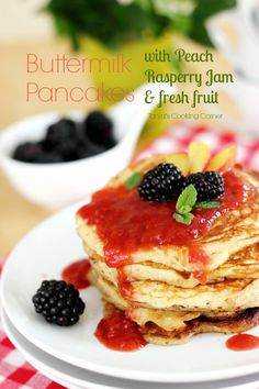 Buttermilk Pancakes with Peach Raspberry Jam Syrup & fresh Fruit- {Guest Post Tanja's Cooking Corner} http://www.giverecipe.com/buttermilk-pancakes-guest-post.html #buttermilk #pancakes #recipe