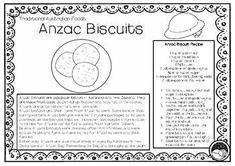 ANZAC BISCUITS (Australian food) 1 pg information & coloring sheet