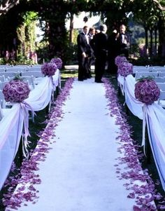 This is the aisle I want!! Minus the huge drapping along the pews. The tissue balls are optional too...but i LOVE the white (maybe it can be silver or grey) runner with the petals lining the aisle. In a richer purple.